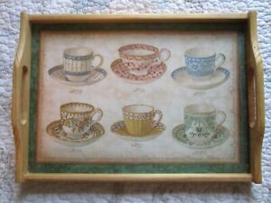 Lovely Ornate Teacups Wooden Wood Serving Tray Platter with Handles, Tea Names