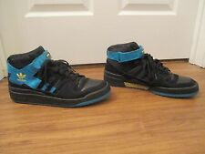 Used Worn Size 13 Adidas Forum Mid Basketball Shoes Black Blue Yellow