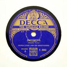 """MONIA LITER & HIS SERENADERS """"Canzonetta"""" (E+) DECCA F-8642 [78 RPM]"""