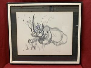 "Lois Green Cohen - signed LG COHEN - ""Rhino"" original early Watercolor"