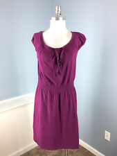 Theory L Purple Ruffle Cap Sleeve Stretch Casual Excellent dress
