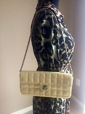 Chanel East/West Patent Flap Pearl/Ivory/White/Beige