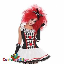 Amscan Womens Ladies Red Crimped Afro Wig Harlequin Honey Jester Halloween Fancy Dress