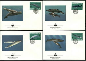 PALAU - 1983 WWF 'THE GREAT WHALES' Set of 4 First Day Covers [B6247]