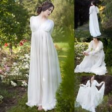 Womens Medieval Dresses White Renaissance Dress Floor Length Cosplay Costumes UK