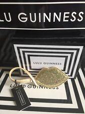Lulu Guinness Stunning Gold  Glitter Lip Bag Keys Charm, In Gift Box