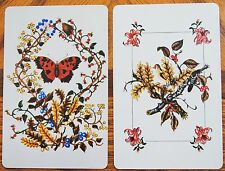 FLOWERS - TINY BUTTERFLY BERRIES & BIRD - PAIR SWAP PLAYING CARDS