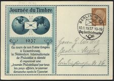 """GERMANY 1937 STAMP DAY CARD BY """"FEDERATION INTERNATIONALE DE PHILATELIE"""" ON 5 pf"""
