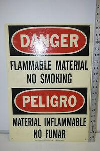 NEW BRADY SIGNMARK 39648 DANGER NO SMOKING FUMAR FLAMMABLE MATERIAL SIGN 20 x 14