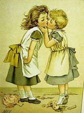 Edwards 2 LITTLE GIRLS KISS OVER BROKEN DOLL c1880 Chromolithograph Print Matted