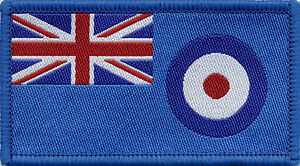 Royal Air Force RAF Flag Woven Badge Patch 8cm x 4.5cm UK Manufactured