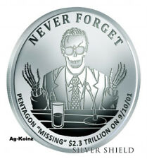 1 oz 2017 Missing Trillions Proof - Never Forget #7 Silver Shield Pentagon 9-11