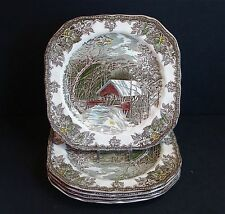 """Johnson Brothers~THE FRIENDLY VILLAGE~7 1/2"""" Square Salad Plates~( 5 )~England"""