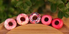 Set of 5 Pink Gemstone Dreadlock Beads 5mm / 6mm Hole (3/16 - 1/4 Inch)
