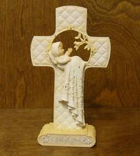 "Foundations #4044103 BABY/CHRISTENING CROSS  w/ stand by Karen Hahn, 6.5"""
