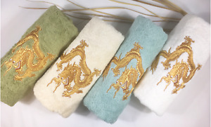 High End Embroidered Turkish Cotton Towel - Dragon Design - Multiple Colors