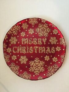 Merry Christmas 13″ Platter Red Gold Large Cookies Cake Plate