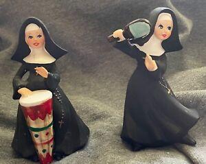 "Vintage Napcoware Porcelain  5"" Catholic Bongo Nun & Ping Pong Paddle Nun Rare!!"