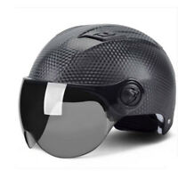 Novelty Motorbike Half Helmet Scooter Helmet w/Sun Visor Carbon Fiber Surface