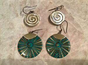 Sterling Modernist Artisan 925 MOP Shell Pierced Earrings