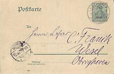 Reich Brief ( Germania Ganzsache ) Keeken > Wesel vom  15.09.1907
