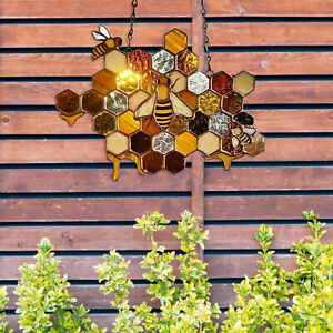 Colorful Stained Glass Window Hanging Acrylic Bee Suncatcher Home Door Gift