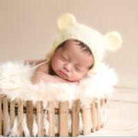 Cute Newborn Baby Crochet Knit Handmade Bear Ear Hat Cap Photo Photography Prop