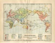 1886 WORLD HUMAN LANGUAGES SPOKEN Antique Map