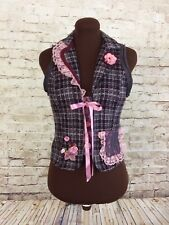 Upcycled Boho Vest with Lace Ruffles. Bohemian Hippie Refashioned Vest Size S