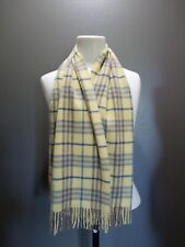 Vintage Authentic Burberry 100% Cashmere Scarf Yellow Plaid Scarf EVC 12x68