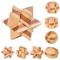 Wooden Kongming Lock Brain Teaser Puzzle Children Adults Educational Game Toy