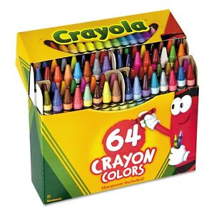 Crayola Crayons 52-0064 Crayons Assorted Colors 64 Count Built-In Sharpener NEW