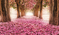 Wall Mural photo Wallpaper 184x254cm Giant home room decor Pink trees alley