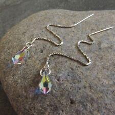 *SJ1* Sterling Silver Threader Dangle Earrings w/ AB Swarovski Crystal Teardrop