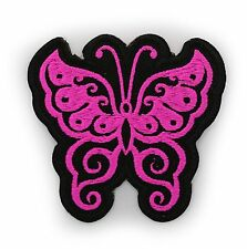 "PINK BUTTERFLY 3"" X 3.25"" EMBROIDERED MC PATCH"