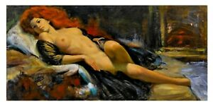 EARL MORAN NUDE RECLINING  VINTAGE PIN UP TRETCHIKOFF ERA QUALITY CANVAS