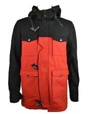 Eleven Paris Hombre Con capucha Abrigo Negro/Rojo (EPJK025)
