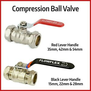 Compression Lever Arm Ball Valves | BLACK 15mm to 28mm | RED 35mm to 54mm