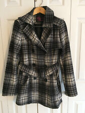 Say What Junior's Black Plaid Wool Warm Button Tie Waist Winter Coat Siize XL