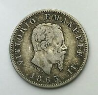 Dated : 1863 - Silver Coin - Italy - One Lira - 1 Lira - Vittorio Emanuele II