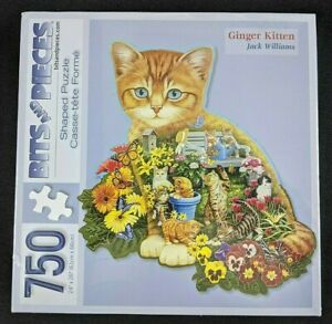"""New GINGER KITTEN Shaped Puzzle Jack Williams 750 Pieces Bits & Pieces 24"""" x 26"""""""