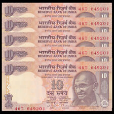 Lot 5 PCS, India 10 Rupees, ND(1996), P-89, UNC, Banknotes