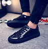 Mens Casual Chic Trendy patent leather lace up round toe sneakers shoes