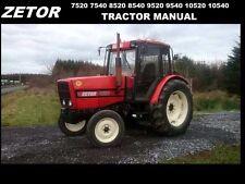 ZETOR 7520 7540 8520 8540 OPERATION MANUAL w/ 9520 9540 Tractor Service & Repair