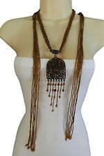 Cool Women Tie Ethnic Necklace Tie Long Brown Beads Vintage Rustic Charm Pendant