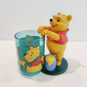 Vintage Disney 90s Winnie The Pooh Figurine Plastic Cup & Holder Zac Designs