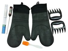 Silicone Oven Mitts Set 2 Black Gloves (L) 2 Meat Shredder 1 Thermometer 1 Brush