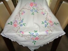 Vintage Linen Tablecloth Hand Embroidered Cross Stitch Flowers  Lace Trim VGC
