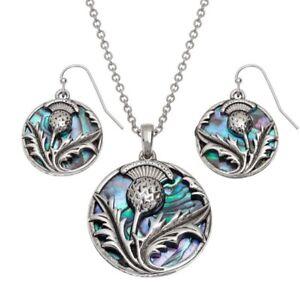 Tide Jewellery Inlaid Paua Shell Scottish Thistle Pendant And Earrings Set