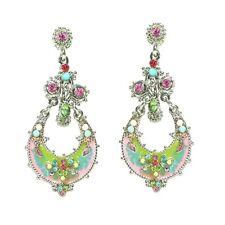 Easter Parade Pastel Enamel Drop Earrings Silvertone & Multi-Color Crystals